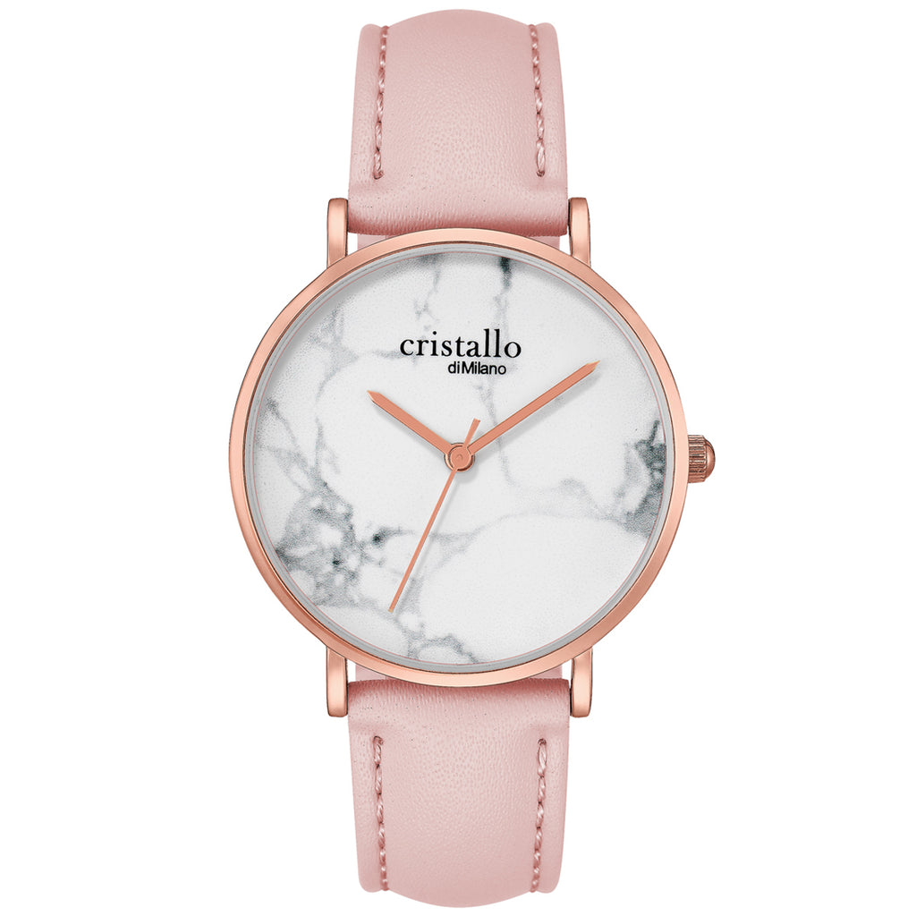 Roche Marble Pink On White In Rose Gold