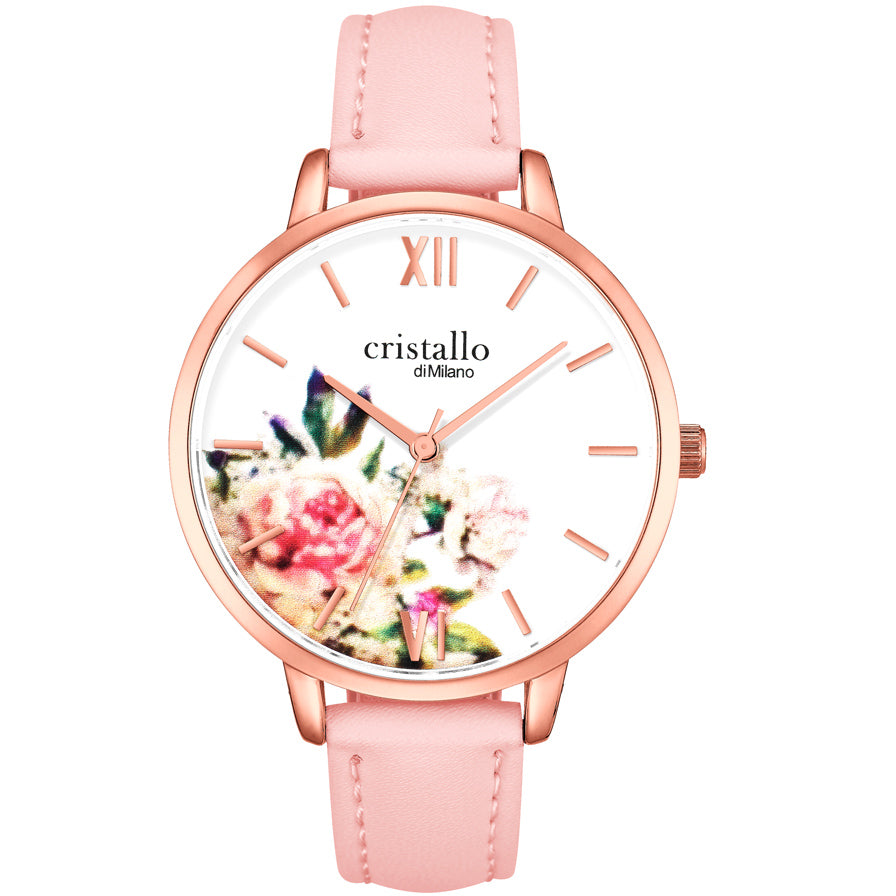 Kate Du Jaipur Pink Leather In Rose Gold Watch
