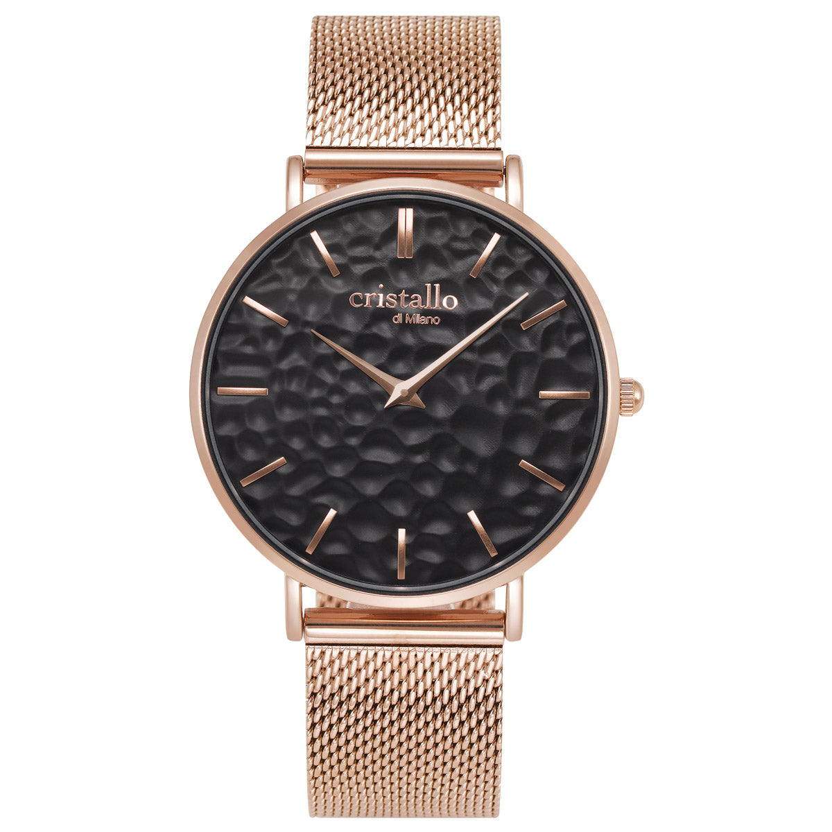 Aero Black On Rose Gold Brown Mesh Strap - Eva Victoria
