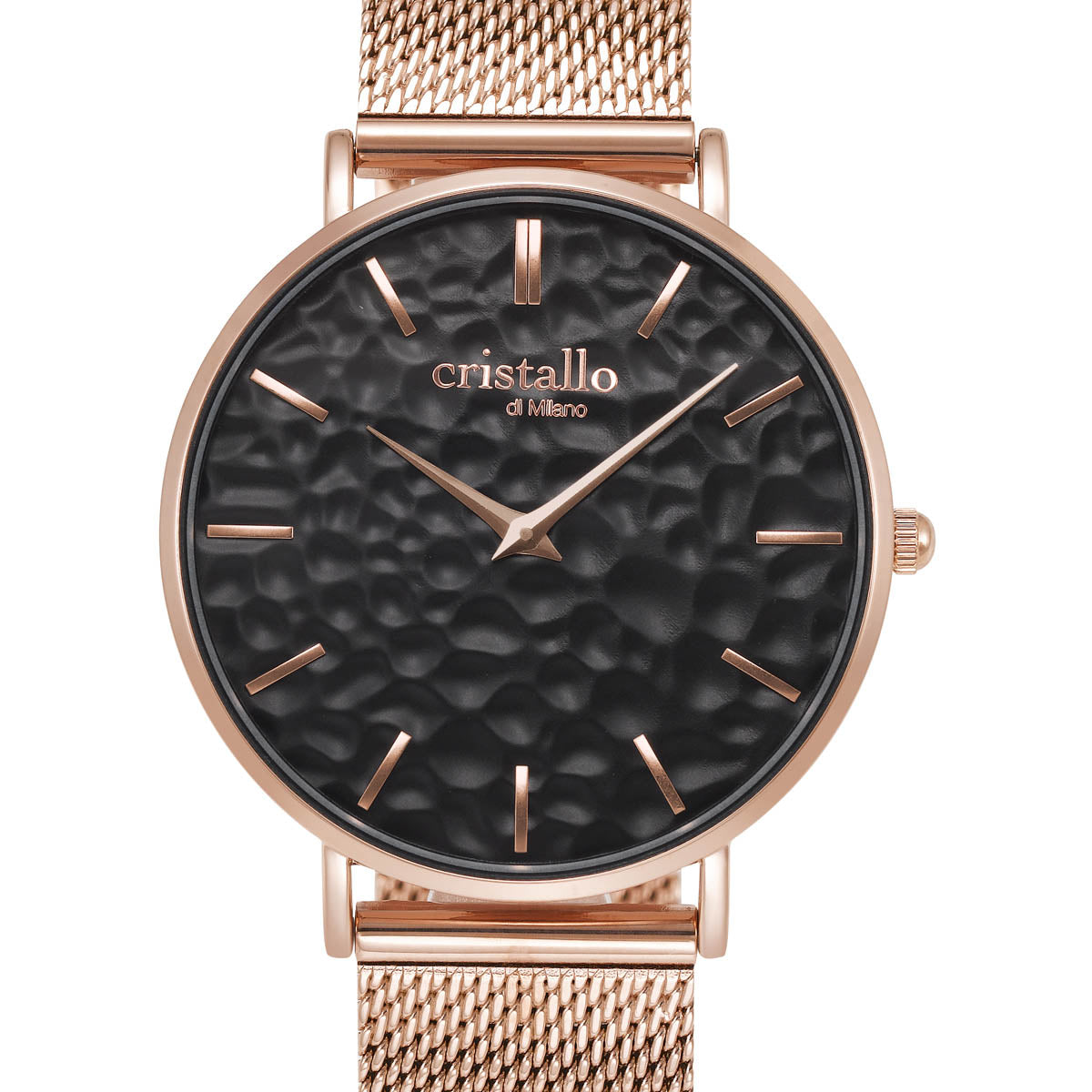 Aero Black On Rose Gold Brown Mesh Strap