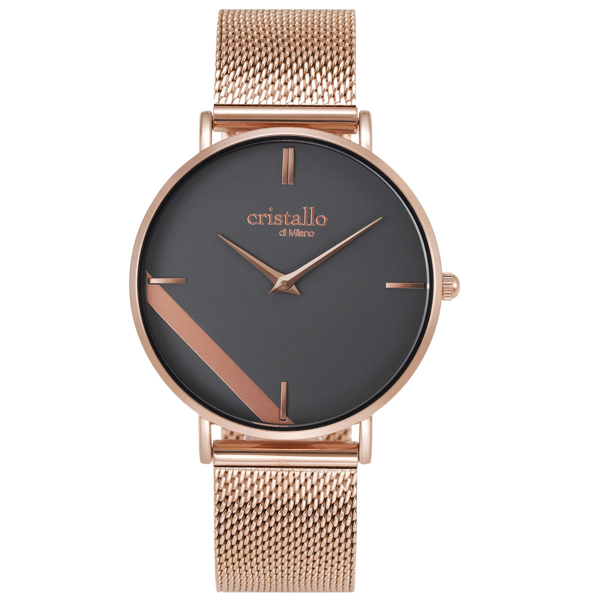 Sailor Black On Rose Gold Mesh Strap