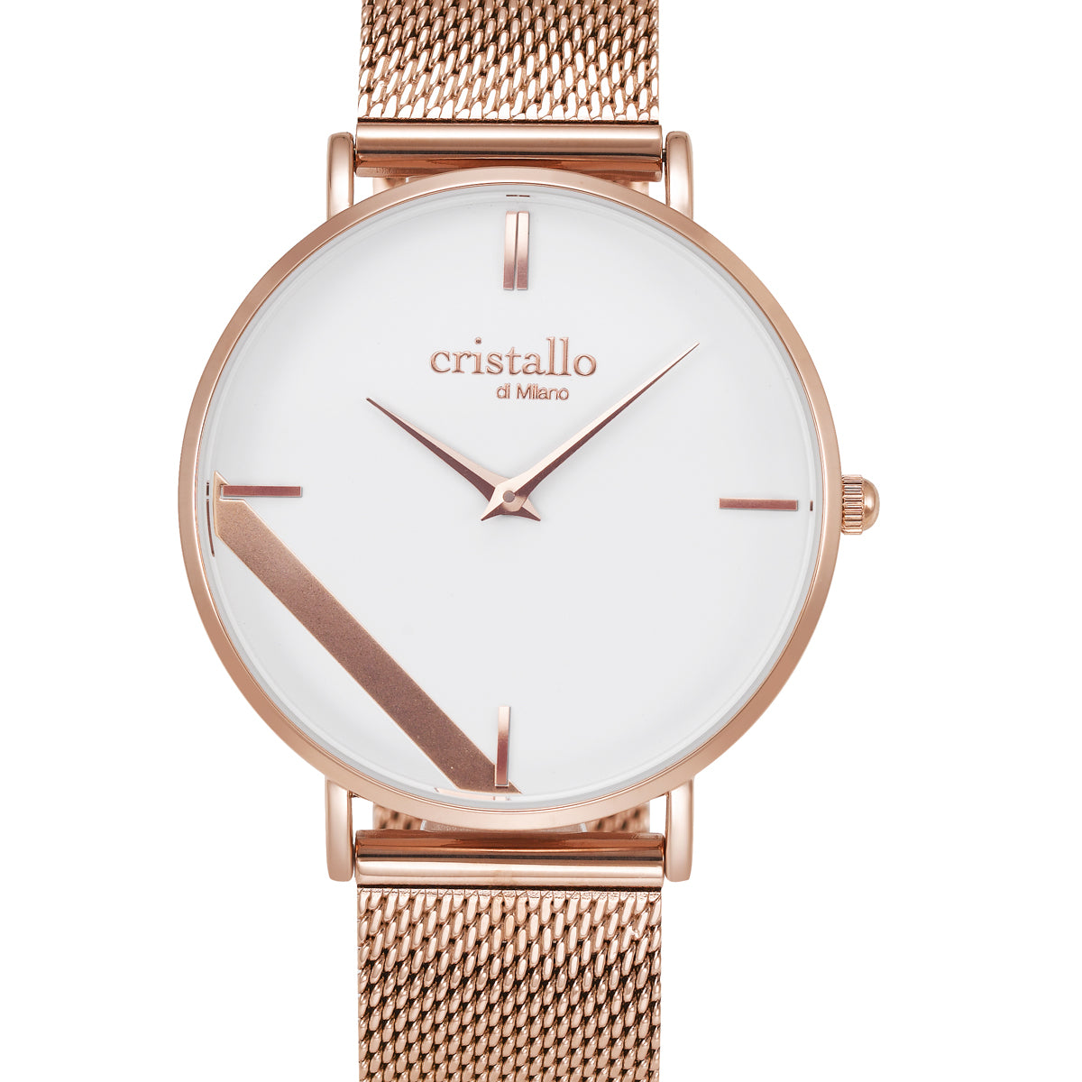 Sailor White On Rose Gold Mesh Strap
