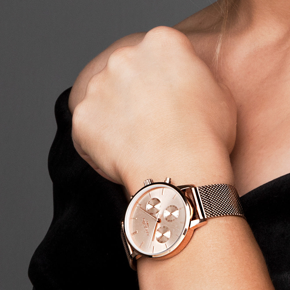 Everpulse Rose Gold Mesh Strap Chronograph