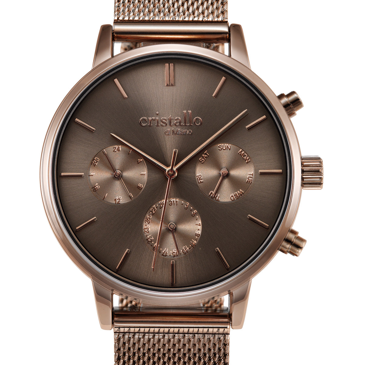Everpulse Mocha In Dark Brown Mesh Strap Chronograph