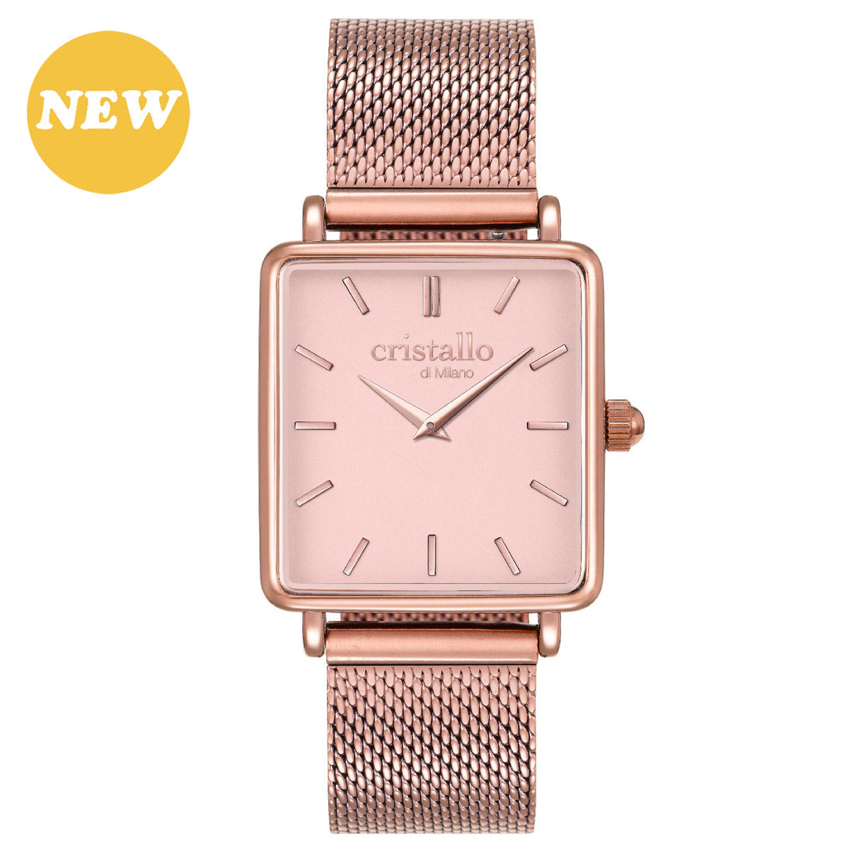 La Tétragone Pink On Rose Gold Mesh Strap