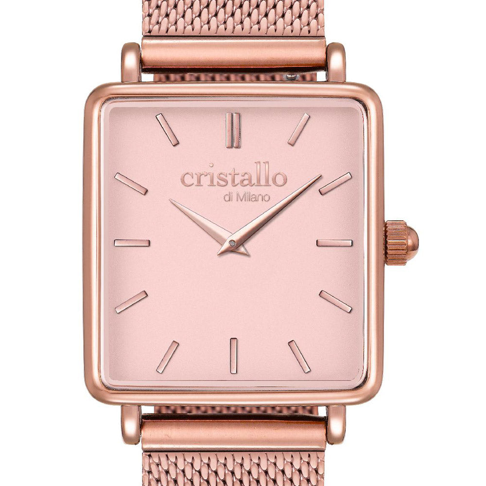 La Tétragone Pink On Rose Gold Mesh Strap Rectangular Watch