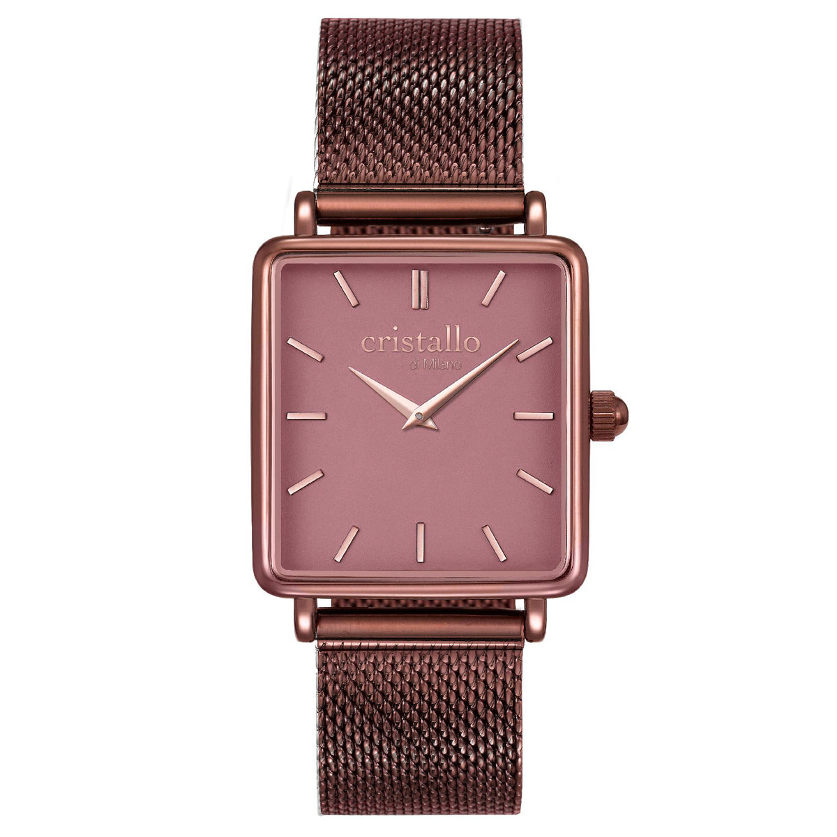 La Tétragone Mocha In Dark Brown Mesh Strap Rectangular Watch
