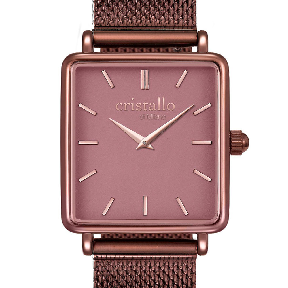 La Tétragone Mocha In Dark Brown Mesh Strap