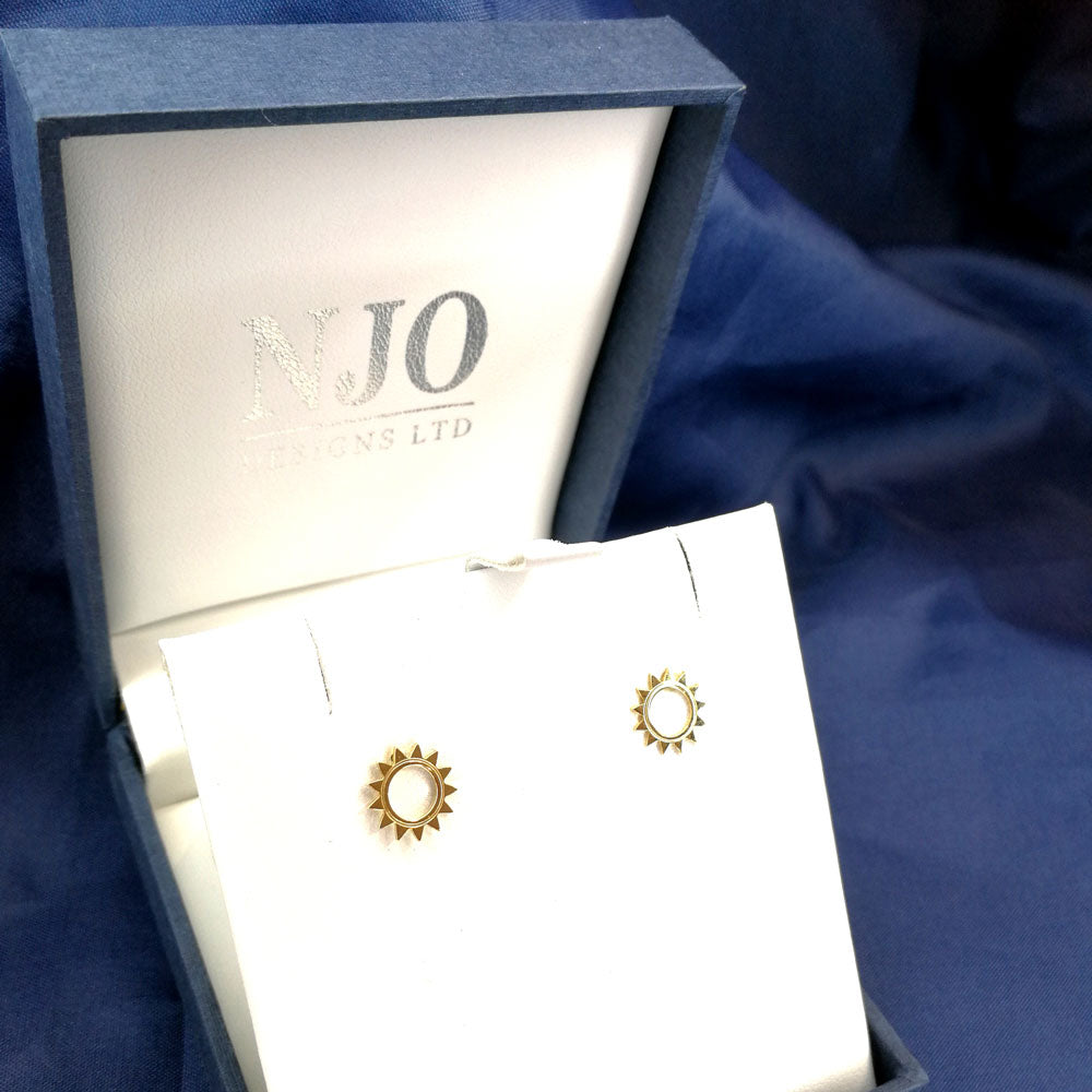9ct Yellow Gold Open Sun Stud Earrings