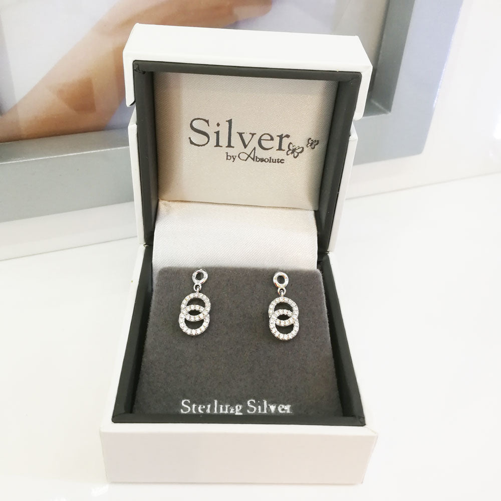 Infinity Circles Diamante Sterling Silver Stud Earrings