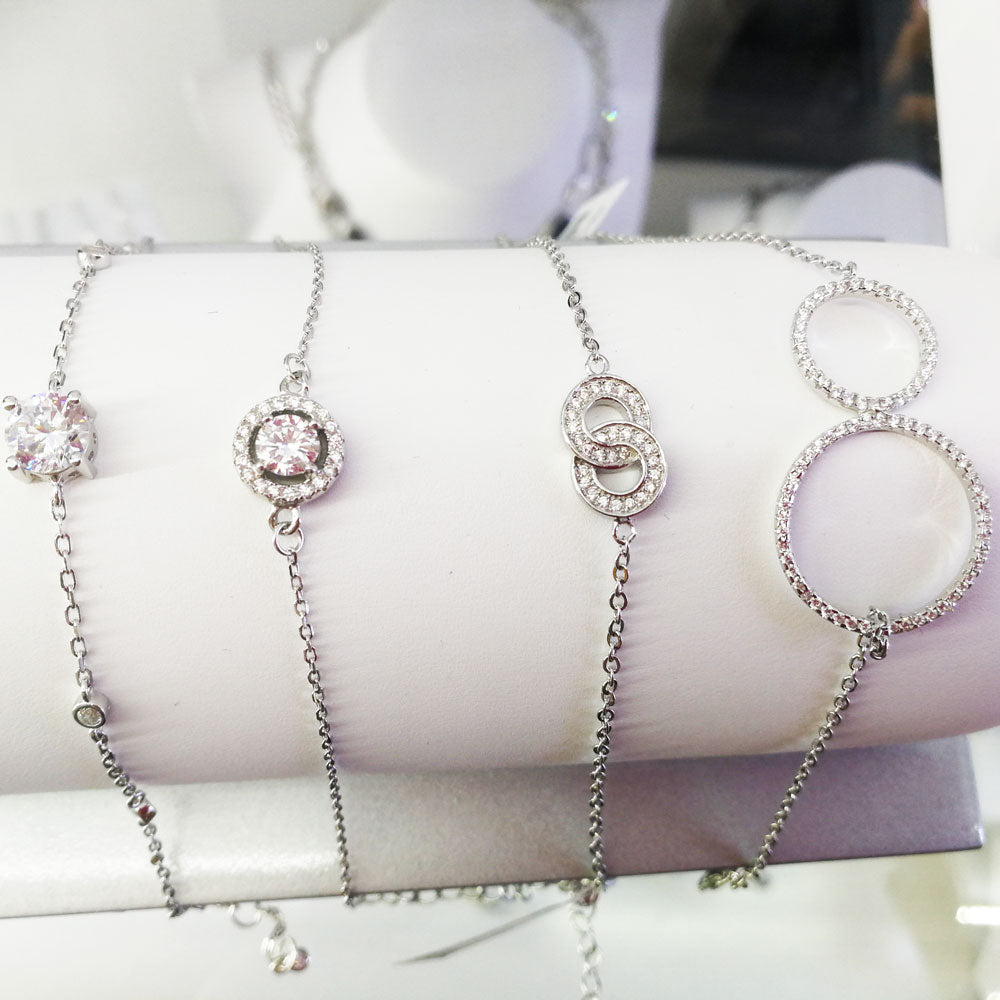 Two Crystal Circles Delicate Sterling Silver Bracelet