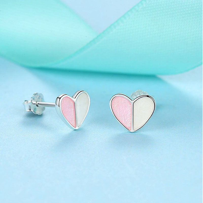 Eva Two Heart Sterling Silver Pink Enamel Earrings