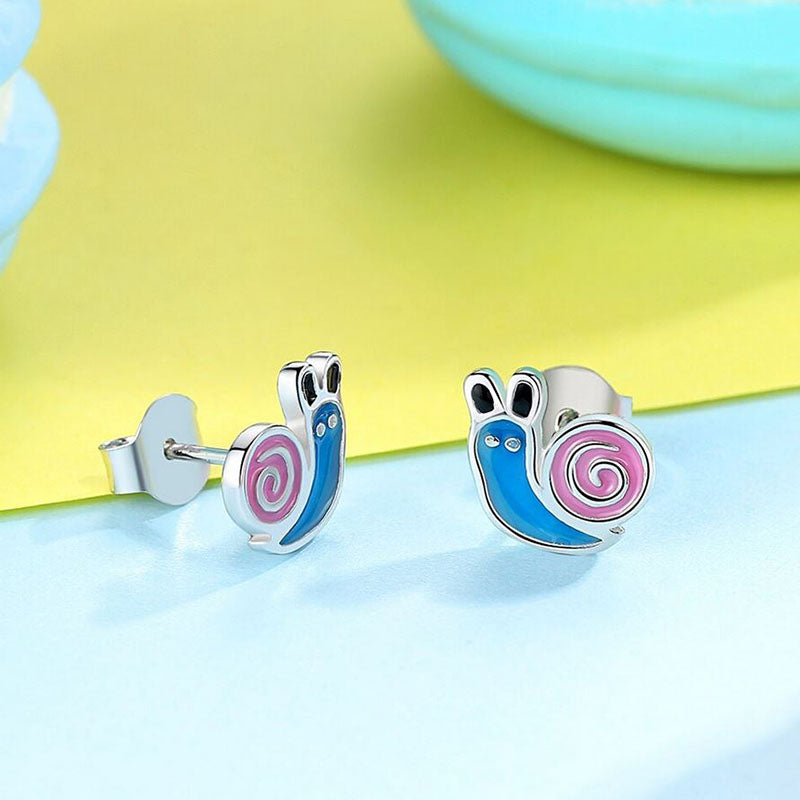 Eva Crawling Snail Sterling Silver Blue Pink Enamel Earrings