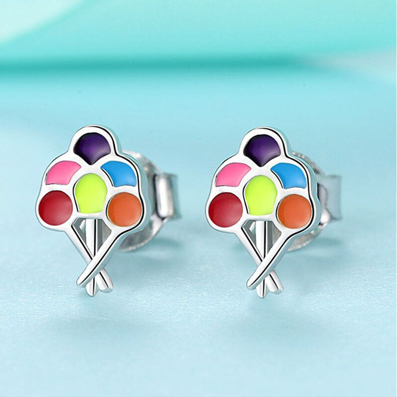 Up Up And Away Sterling Silver Multicolored Enamel Balloons Earrings