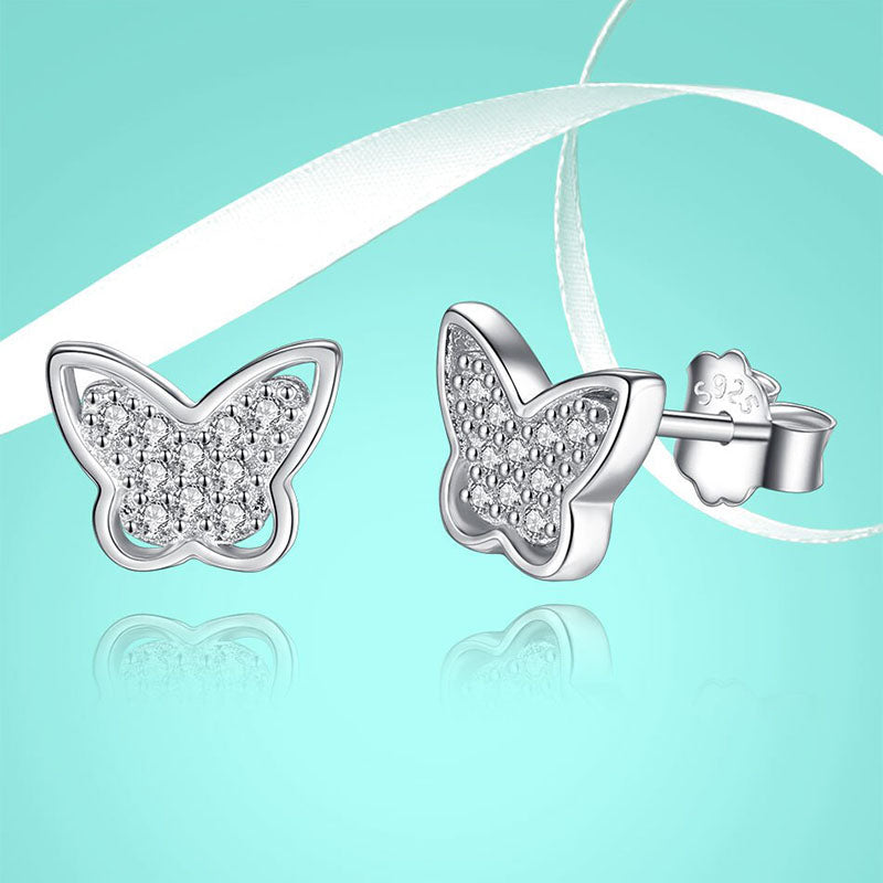 Eva Little Butterfly Swarovski Sterling Silver Earrings