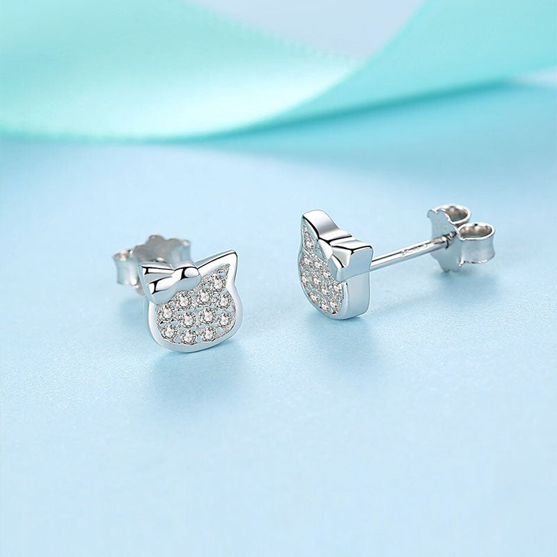 Eva Miew Kitty Swarovski Sterling Silver Earrings
