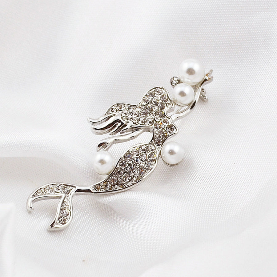 Arial Pearl and Swarovski Mermaid Silver Pin Brooch - Eva Victoria