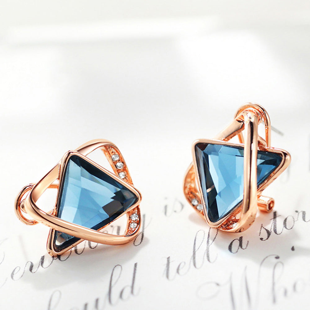 Akina Blue Sapphire Triangle Rose Gold Stud Earrings