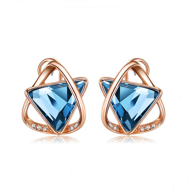 Akina Blue Sapphire Triangle Rose Gold Stud Earrings - Eva Victoria