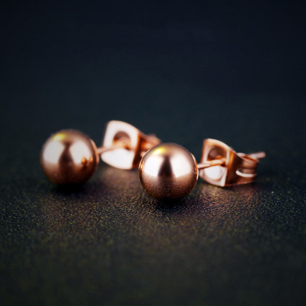 Kalina Rose Gold Ball Studs