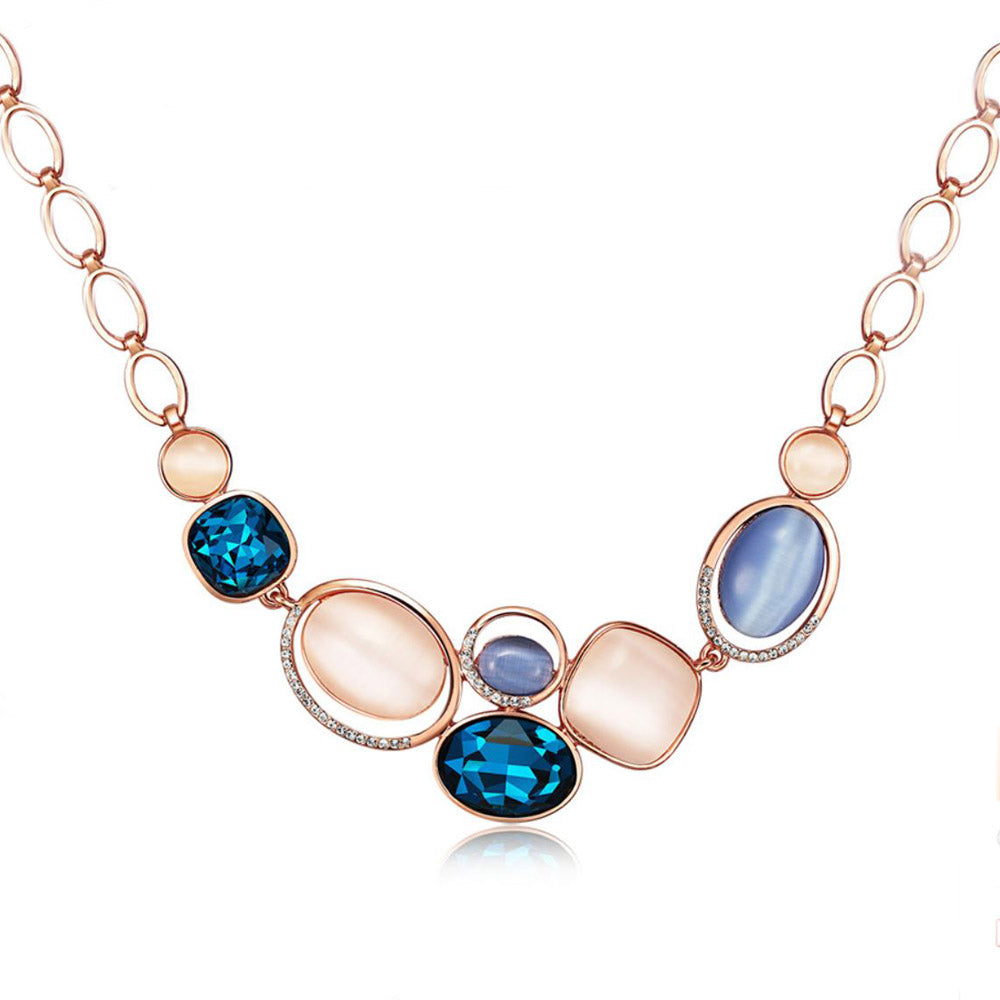 Blue Saphira Opal Opulence Rose Gold Necklace - Eva Victoria
