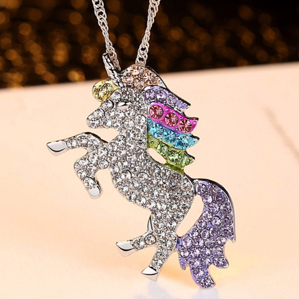 Eva Diamante Rainbow Crystals Unicorn Necklace