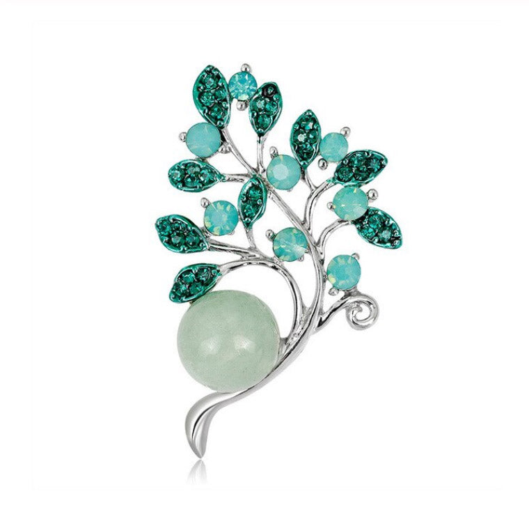 Minty Flower Bouquet with Natural Agate Antique Silver Brooch