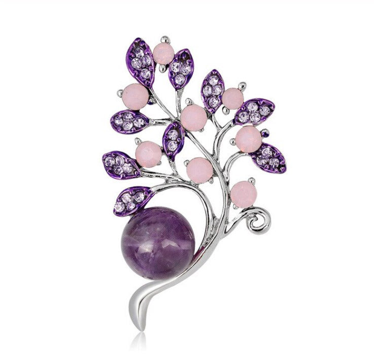 Lilac Flower Bouquet with Natural Agate Antique Silver Brooch