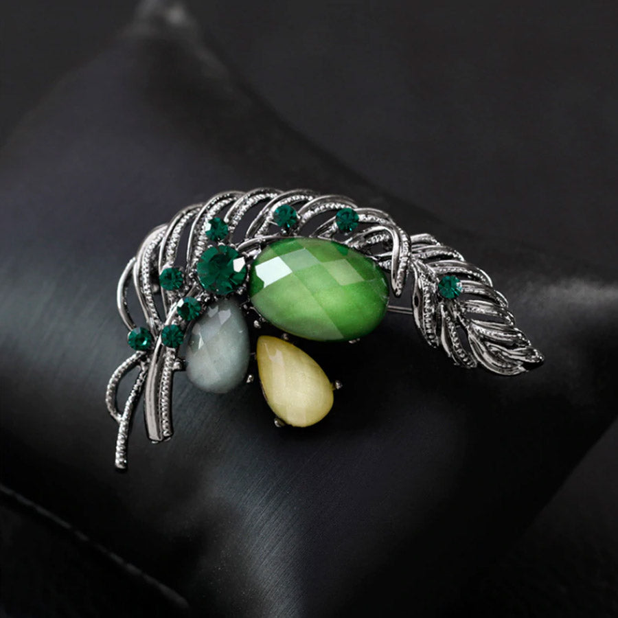 Autumn Green Flower Bouquet Antique Silver Agate Brooch