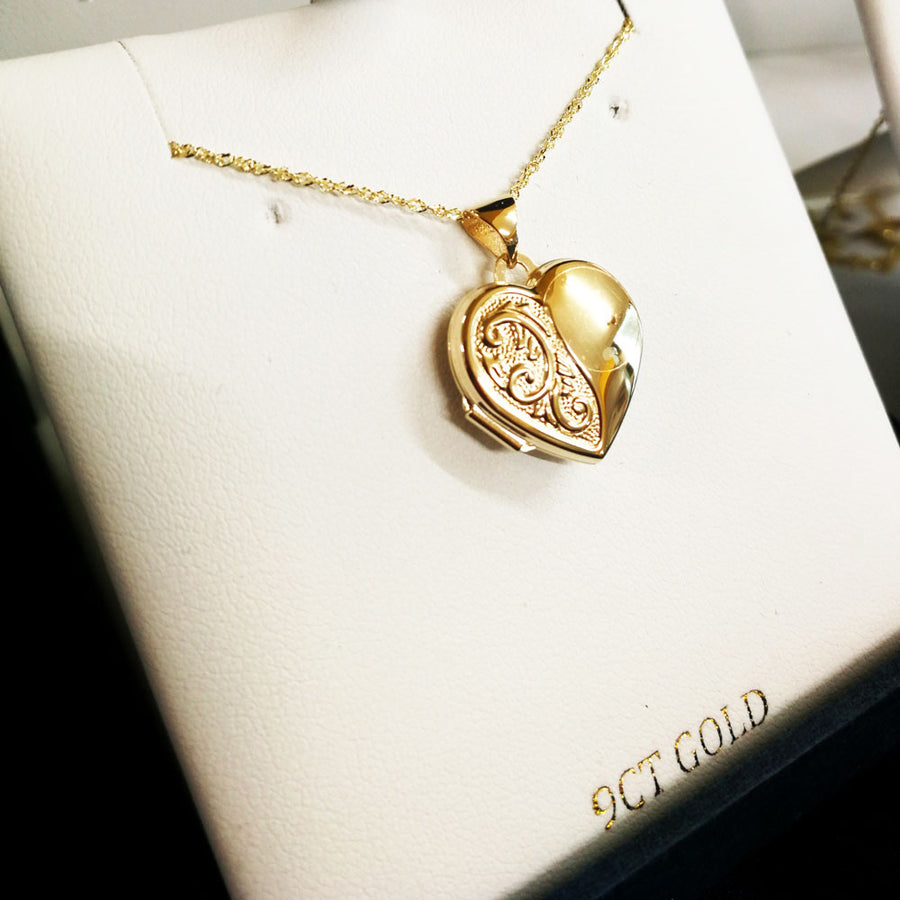 9ct Yellow Gold Heart Photo Locket