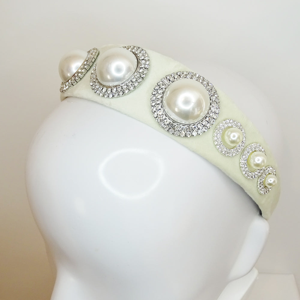 Tanya Pearls and Diamante Crystals Ivory Velvet Headband