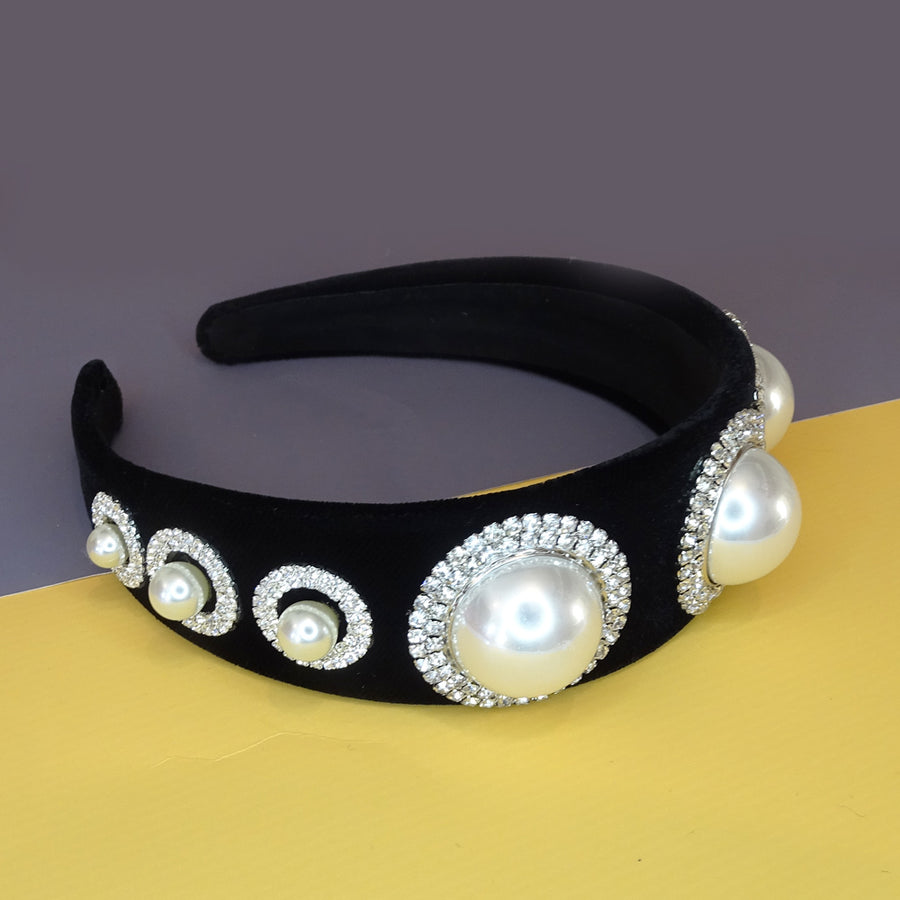 Jenny Pearls and Diamante Crystals Black Velvet Headband