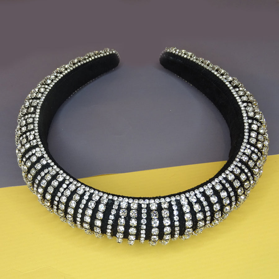Nuala Diamante Crystals Black Velvet Headband