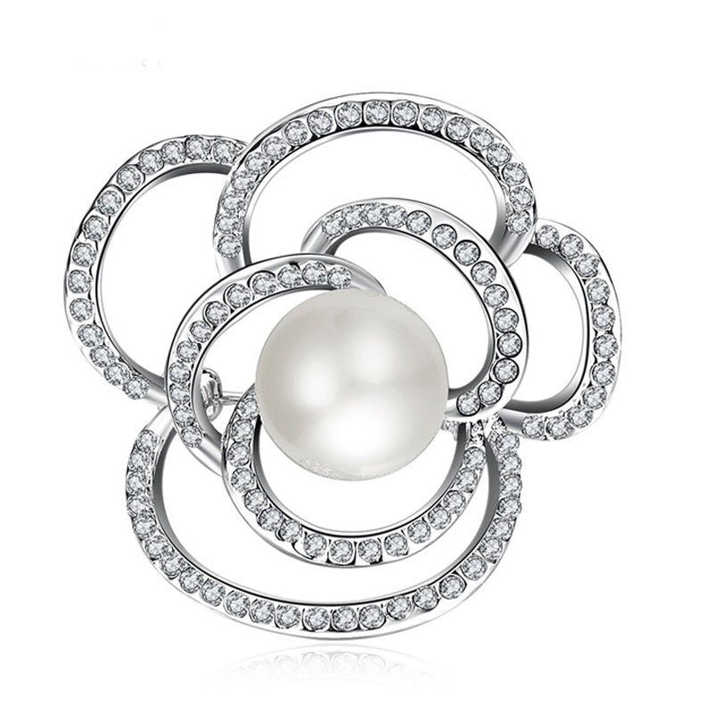 Open Rose Seoda Atlántacha  Silver Diamante Brooch