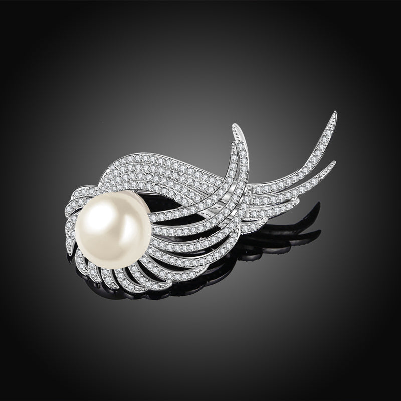 Flying Winds Silver Diamante Brooch