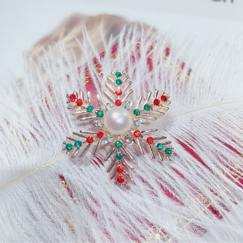 Winter Christmas Snowflake Gold Pearl Brooch