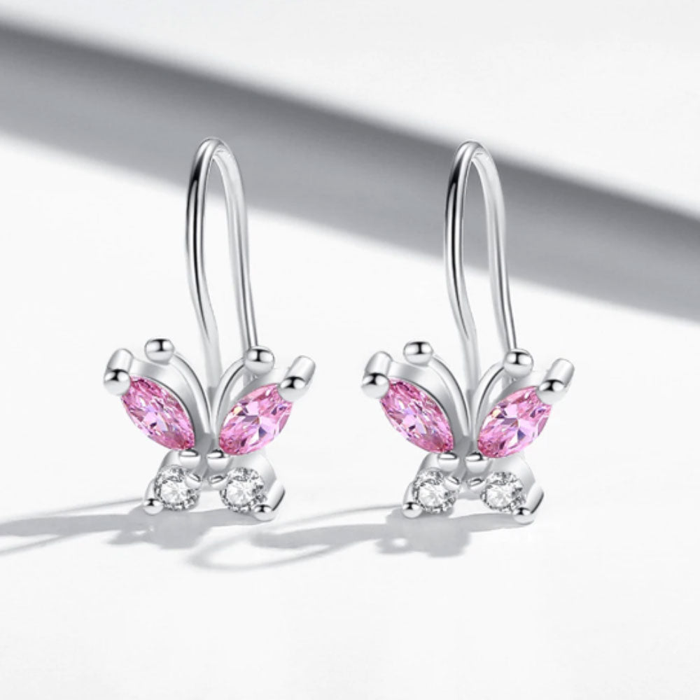 Pink Butterfly Children Sterling Silver Small Hoop Earrings