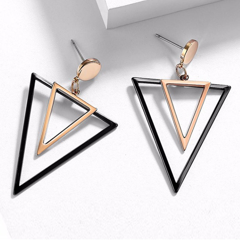 Dupla Tri Dubheasa Rose Gold & Slate Triangular Dangle Stud Earrings