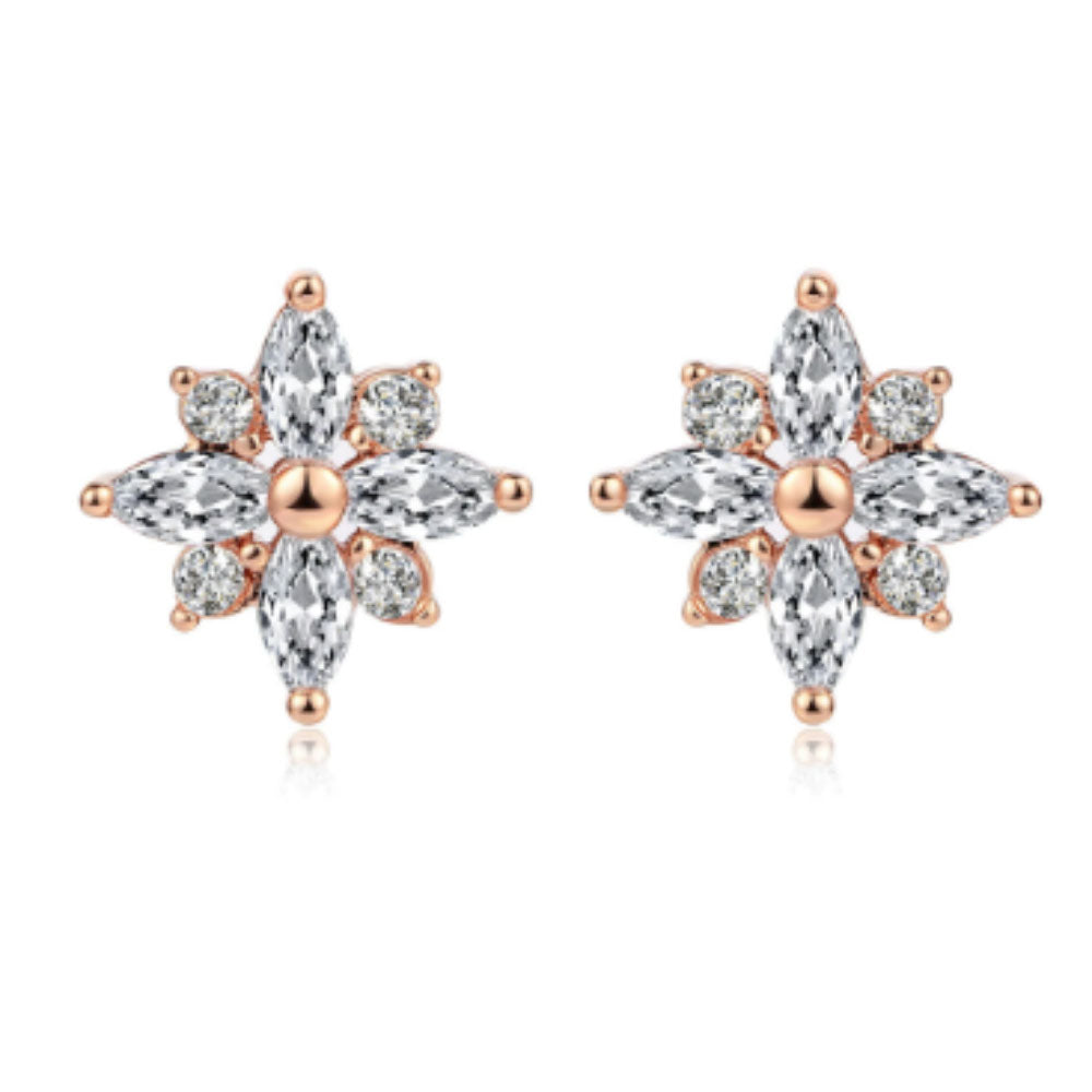 Crystal Snowflake Diamante Rose Gold Stud Earrings