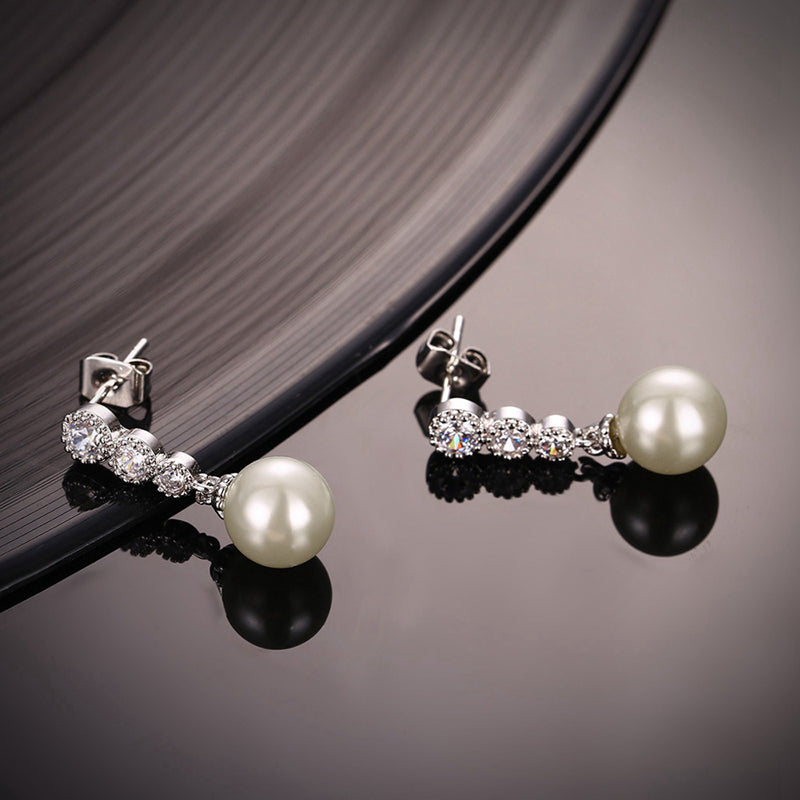 Three Is Not A Crowd Silver Stud Pearl Earrings