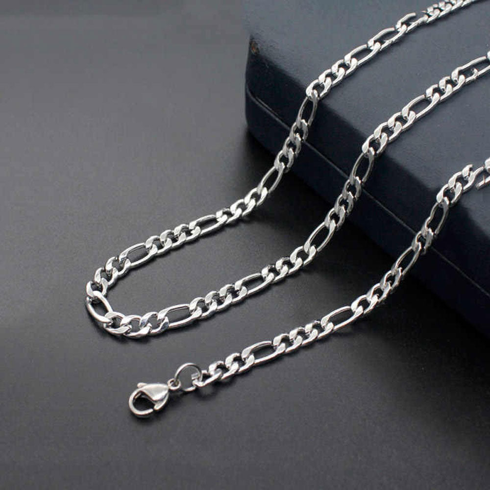 Figaro Sterling Silver Unisex Chain