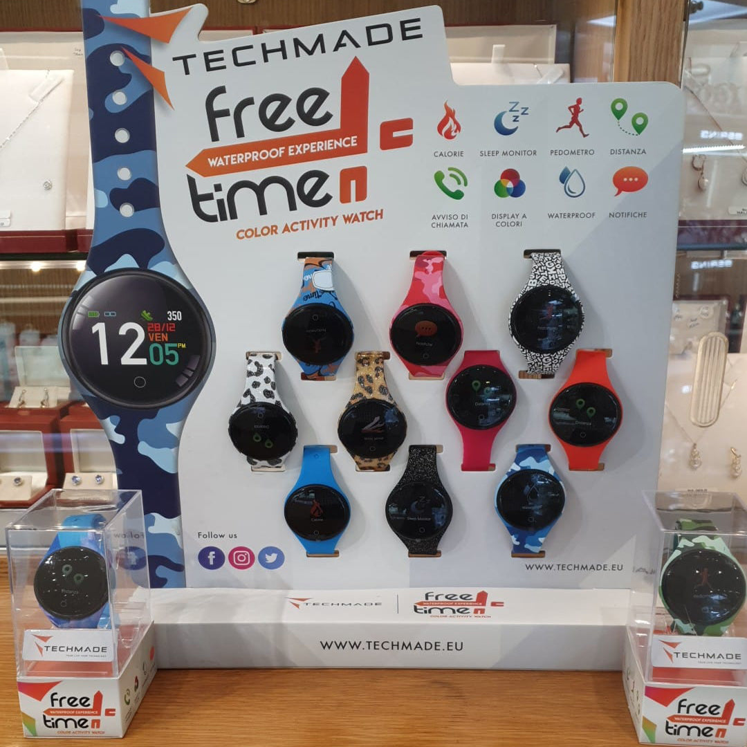 Black Freetime Smart Watch by Techmade