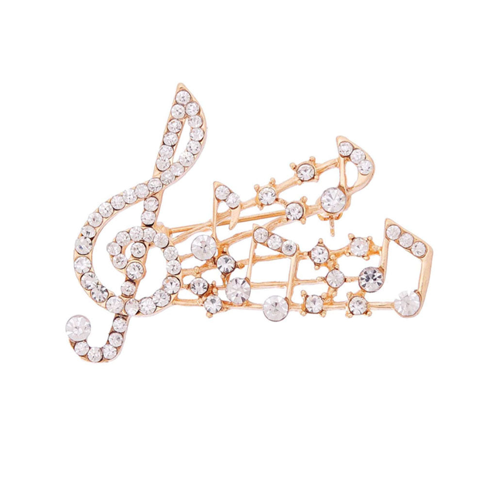 Musical Note Gold Clear Crystal Brooch