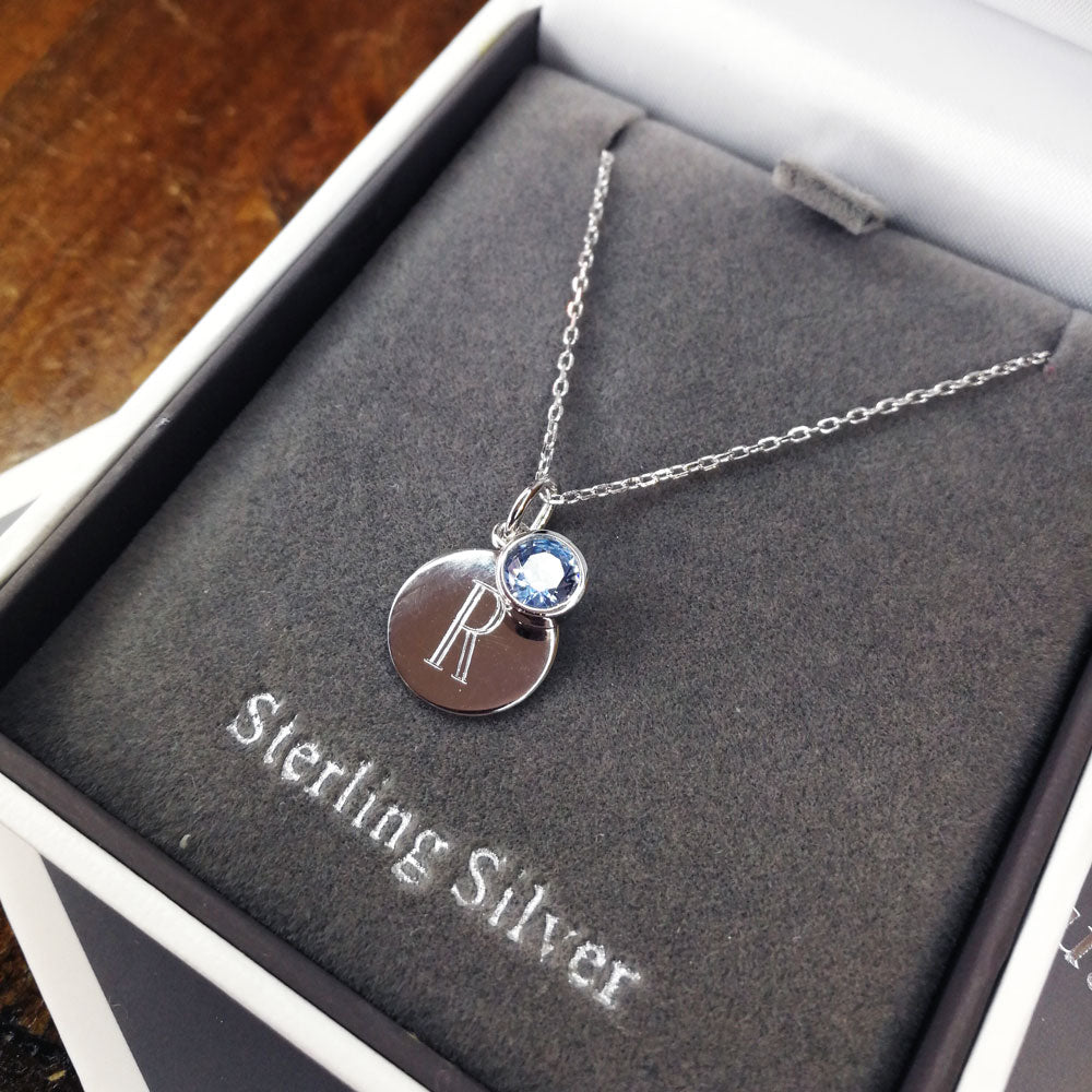 March Birthstone Sterling Silver Pendant