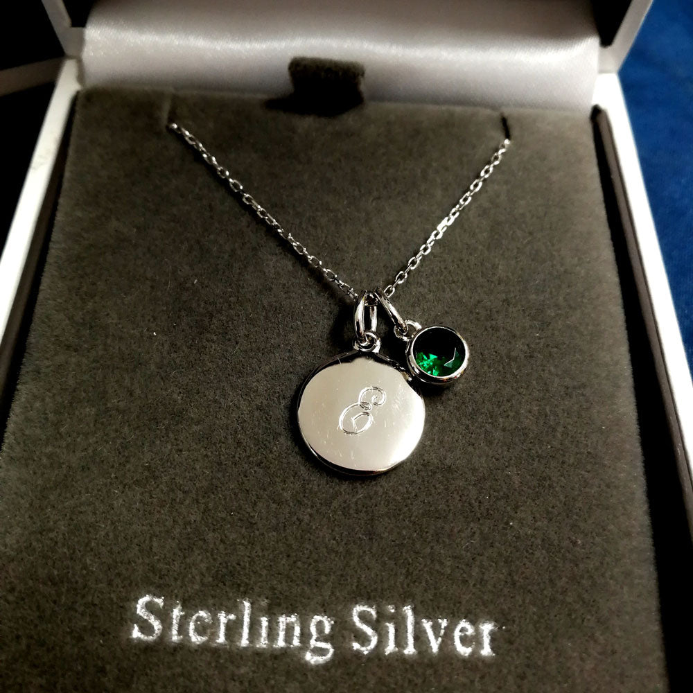 May Birthstone Sterling Silver Pendant And Earrings Set