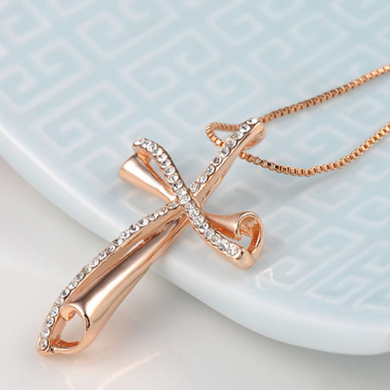 Réaltas Geal Cruvy Rose Gold Cross Pendant
