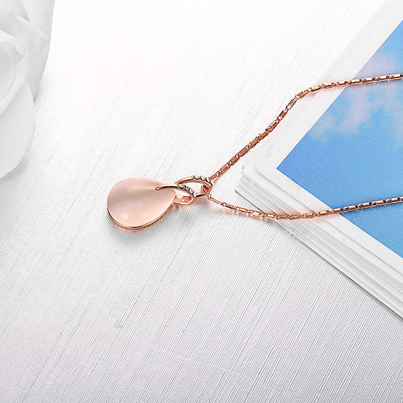 Mother Of Pearl Twist Opal Diamante  Rose Gold Pendant