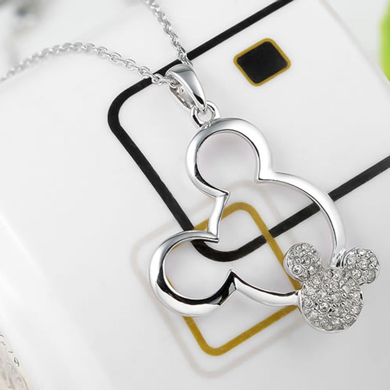 Minnie Mouse Inspired Diamante Silver Pendant