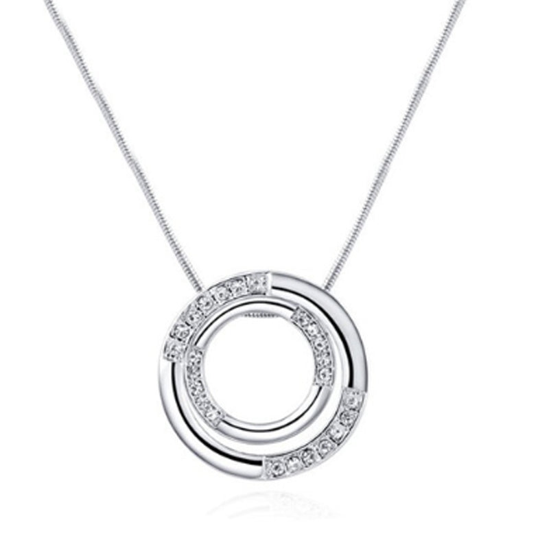 Through The Circle Diamante Silver Pendant