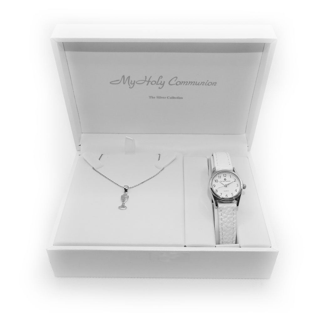 Communion Children Sterling Silver Chalice Pendant & Watch Gift Set